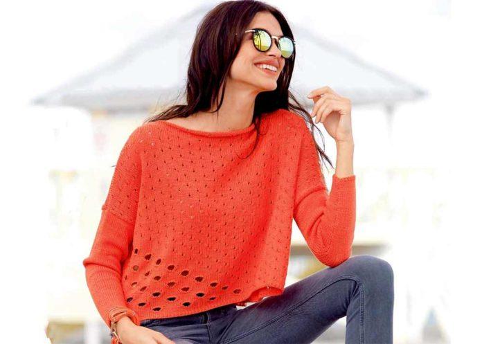 Коралловый пуловер оверсайз с узкими рукавами схема вязания спицми с подробным описанием