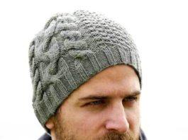 Мужская шапка спицами со жгутами схема вязания спицами с подробным описанием