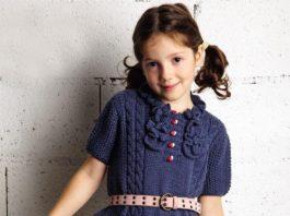 Синее платье спицами для девочки схема вязания с подробным описанием