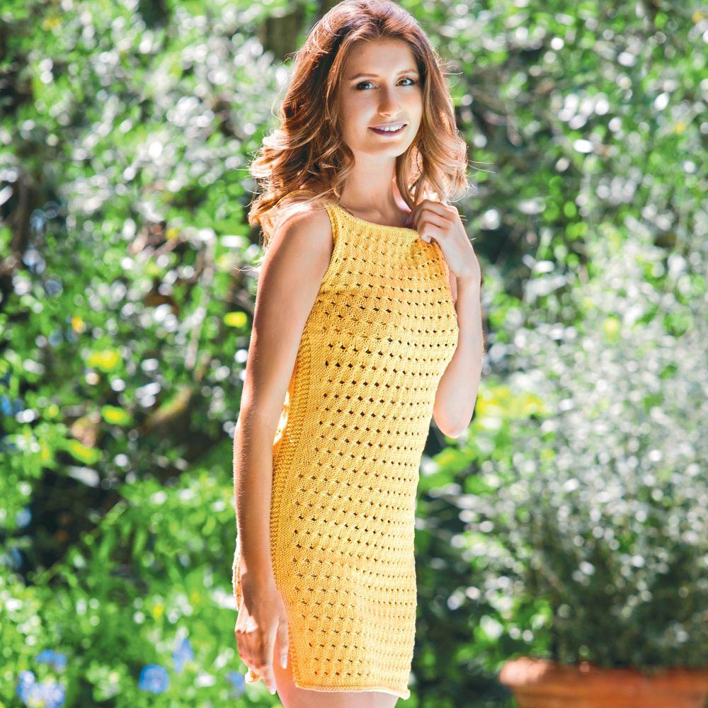 Летнее мини-платье с американской проймой, связанное спицами схема вязания с подробным описанием