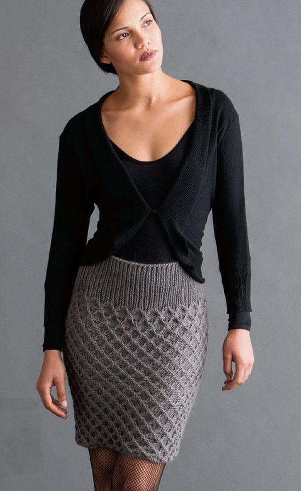 Бесшовная юбка спицами с узором соты от HANA JASON схема вязания с описанием