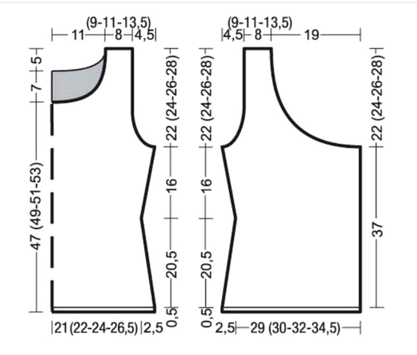 Модный топ спицами с драпировкой на полочке выкройка
