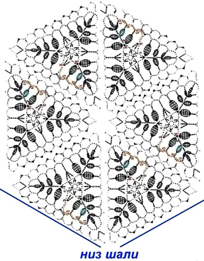 Воздушная шаль из ажурных мотивов схема сборки