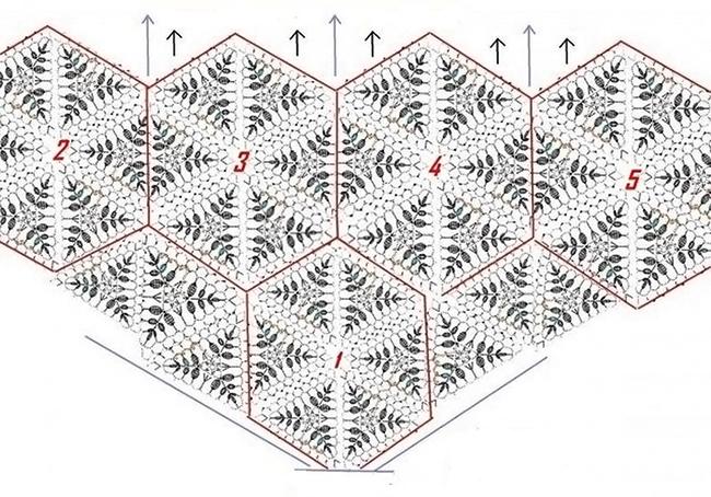 Воздушная шаль из ажурных мотивов схема соединения мотивов