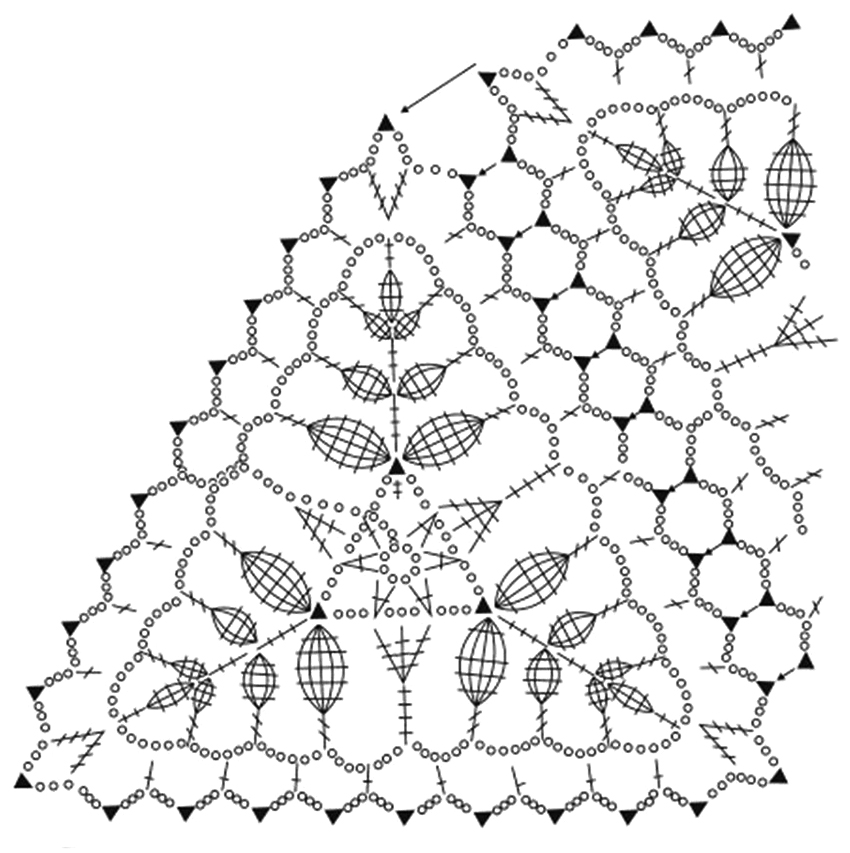 Воздушная шаль из ажурных мотивов схема вязания ажурного мотива Веточки