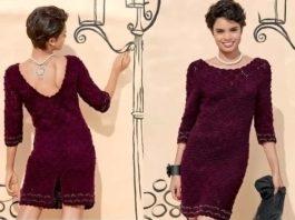 Элегантное платье крючком с открытой спинкой схема вязания с подробным описанием