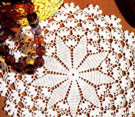 Ажурная салфетка Подснежник схема вязания