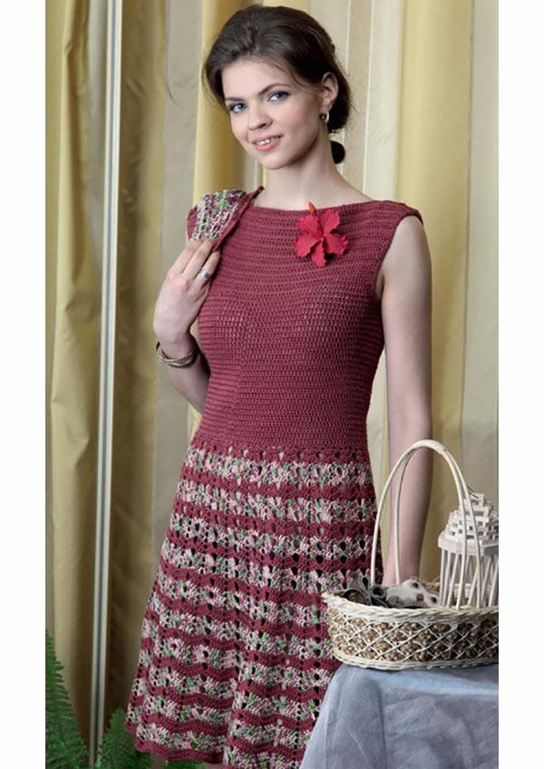 Платье крючком с пышной юбкой схема вязания с подробным описанием