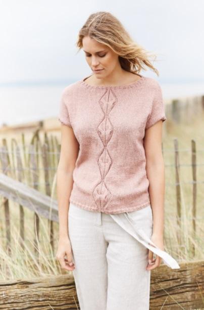 Топ Киама спицами - нежный лаконичный стиль схема вязания с подробным описанием