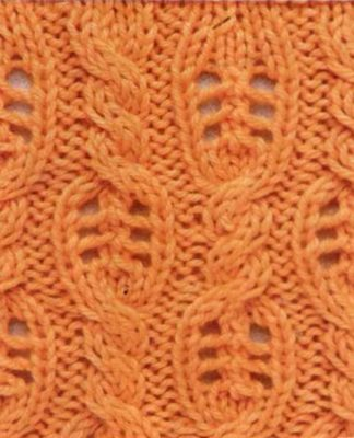 Ажурный узор из кос, переходящих в листья схема вязания с подробным описанием