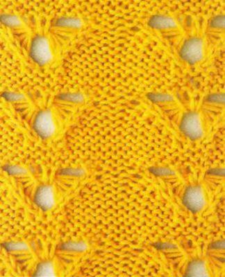 Ажурный узор Треугольники-бабочки спицами схема вязания с подробным описанием