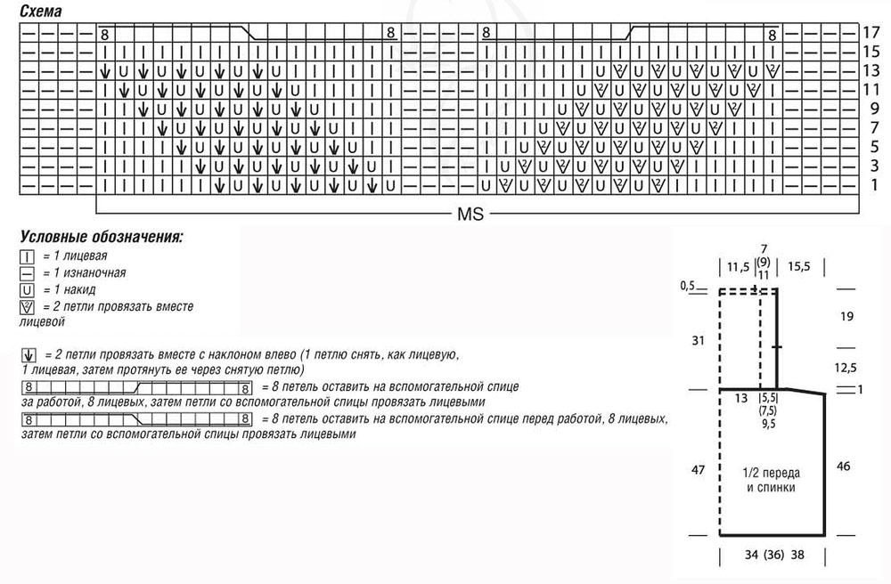 Серое платье с ажурным верхом и юбкой в складку спицами схема вязания условные обозначения и выкройка