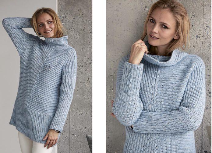 Голубой свитер с рельефным узором и высоким воротником
