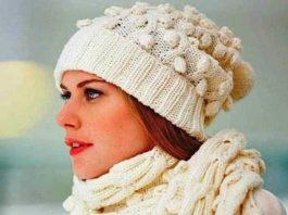 Шапка и шарф спицами с узором из Кос и Шишечек схема вязания с подробным описанием для женщин спицами