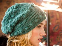 Зеленая шапка с шишечками крючком схема вязания с подробным описанием