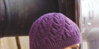 Женская шапка с одним из вариантов узора Спираль схема вязания с подробным описанием