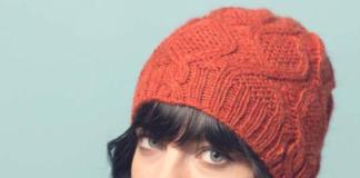 Красная шапка спицами с аранами от Brenda Patipa схема вязания с подробным описанием