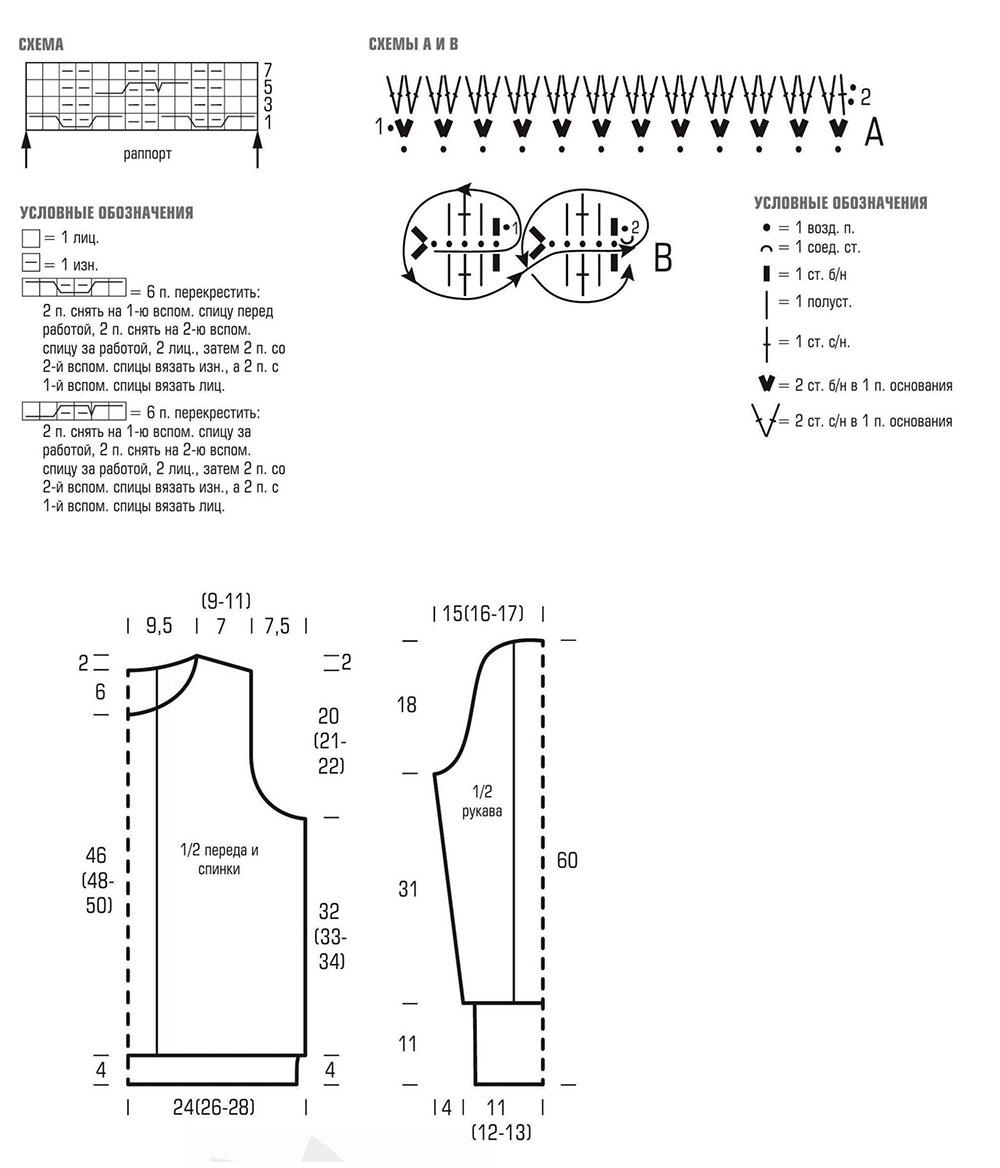 Схема вязания узора, выкройка пуловера и условные обозначения