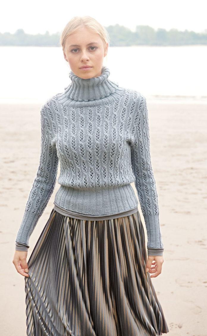 Женский свитер спицами с высоким воротником гольф схема вязания с подробным описанием для женщин