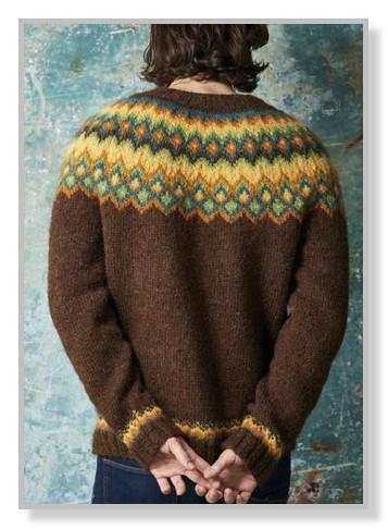 Мужская лопапейса спицами - пуловер с круглой кокеткой