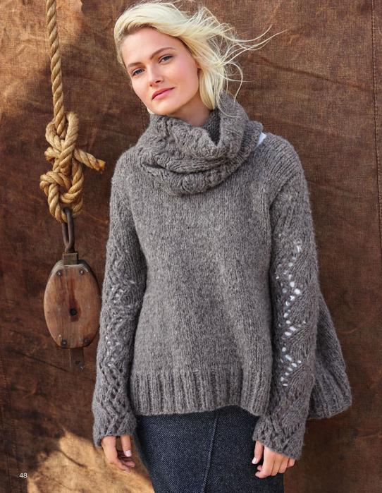 Пуловер спицами с ажурным рукавом и шарфом-снудом схема вязания с подробным описанием