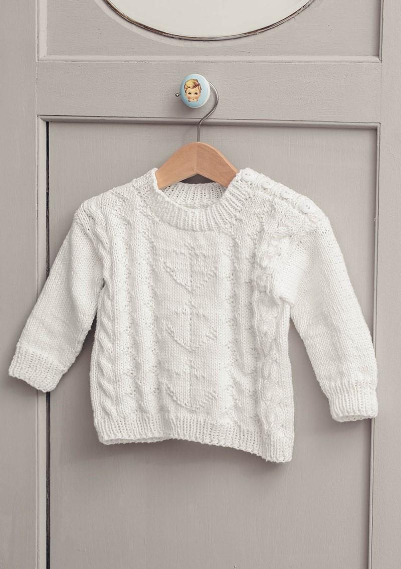 """Детский пуловер спицами с узором """"Якорь"""""""