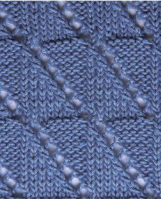 Узор спицами - Клеточки с диагональной линией из накидов