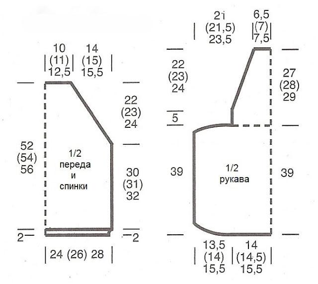 Мохеровый пуловер с разрезами на месте линии реглана выкройка