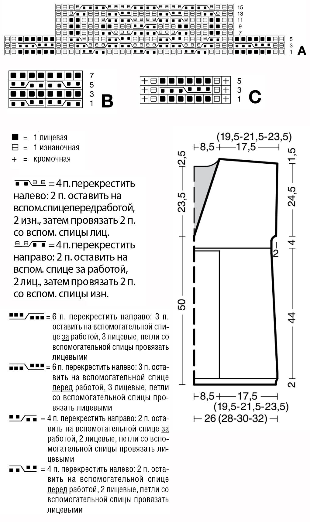 Вязаная туника с вырезом и узором из Аранов схема вязания выкройка условные обозначения