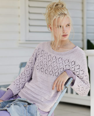 Женский пуловер с ажурной кокеткой спицами схема вязания