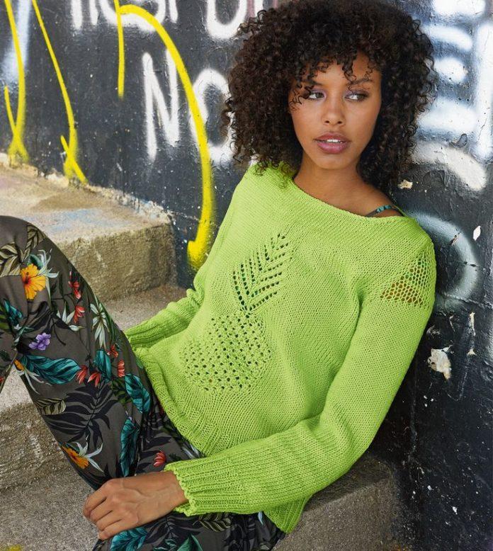 Весенний пуловер с ажурными вставками спицами схема вязания с подробным описанием