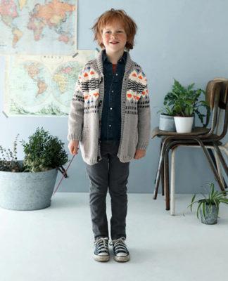 Детский жакет спицами с жаккардовым орнаментом