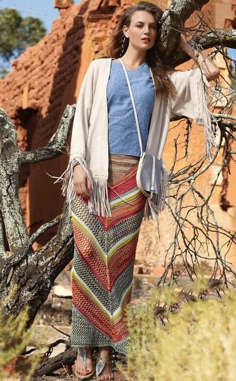Вязаная юбка с сетчатым узором