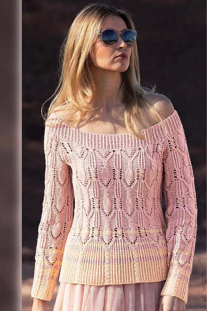 e0049db3167 Пуловер с баской и с открытыми плечами спицами - Портал рукоделия и моды