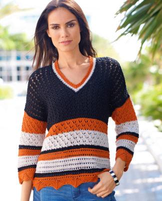 Полосатый пуловер с миксом узоров схема вязания с подробным описанием для женщин спицами