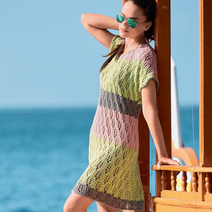 Летнее платье с ажурным узором из Листьев схема вязания с подробным описанием
