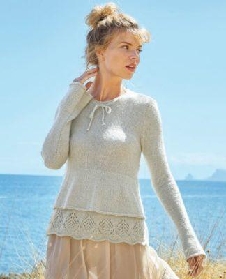 Женственный пуловер с двойной баской спицами схема вязания и описанием