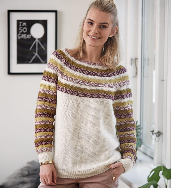 Вязаный пуловер с круглой кокеткой и жаккардовым узором схема вязания с подробным описанием для женщин бесплатно