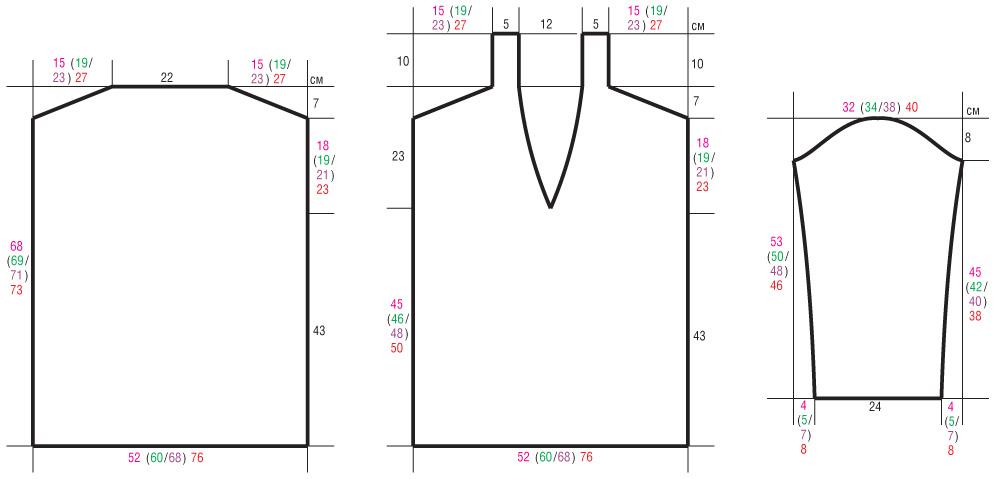 Базовый пуловер спицами c V-образным вырезом выкройка