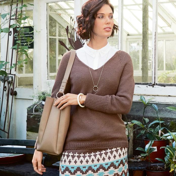 Коричневый пуловер с рукавом реглан схема вязания с подробным описанием