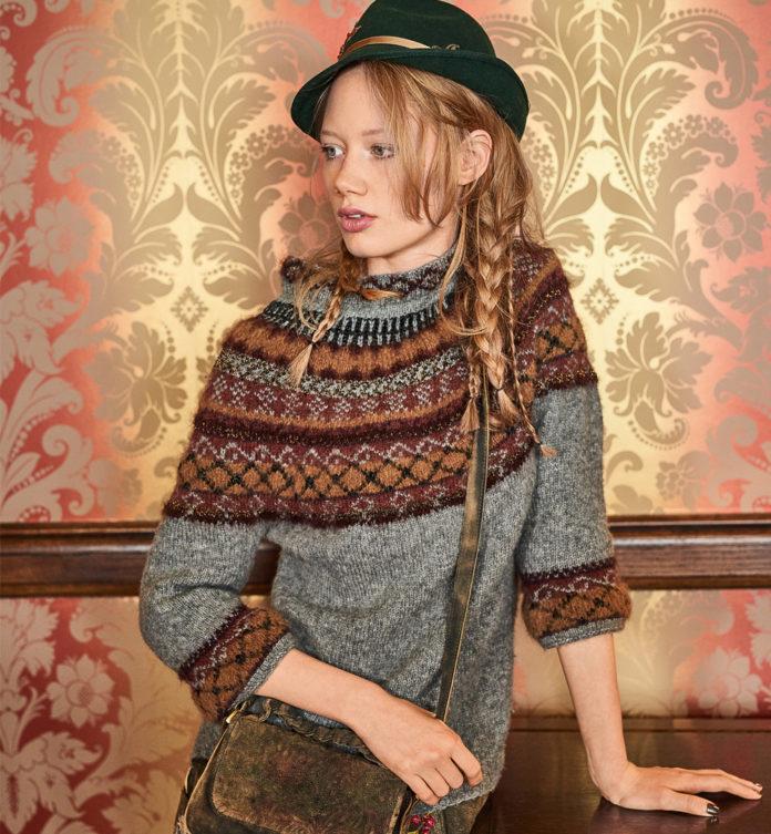 Пуловер с жаккардовым узором и укороченными рукавами схема вязания с подробным описанием для женщин спицами