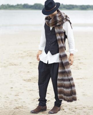 Длинный шарф с рельефной косой спицами схема вязания спицами с подробным описанием