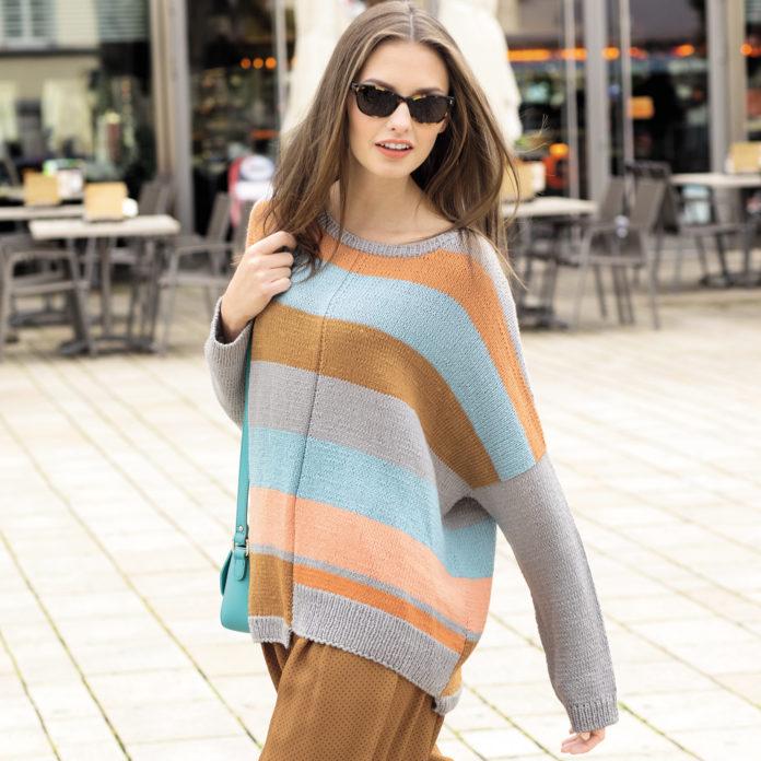 Джемпер свободного кроя спицами с широкими полосами схема вязания и выкройка с подробным описанием для женщин бесплатно