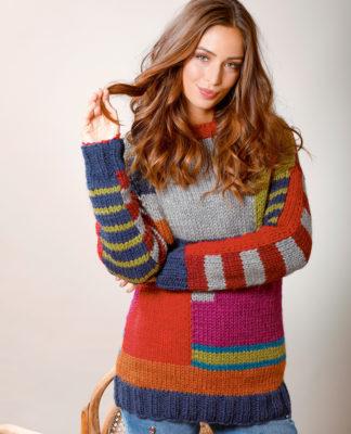Яркий джемпер в стиле колор-блокинг схема вязания с подробным описанием для женщин