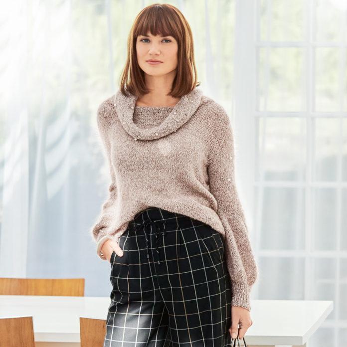 Женский пуловер спицами, расшитый бусинами схема вязания с подробным описанием