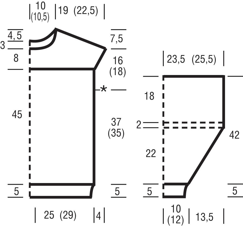 Пуловер спицами с объемным рукавом  выкройка