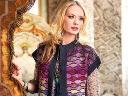 Жилет платочной вязкой из пряжи разных цветов схема вязания с подробным описанием для женщин спицами