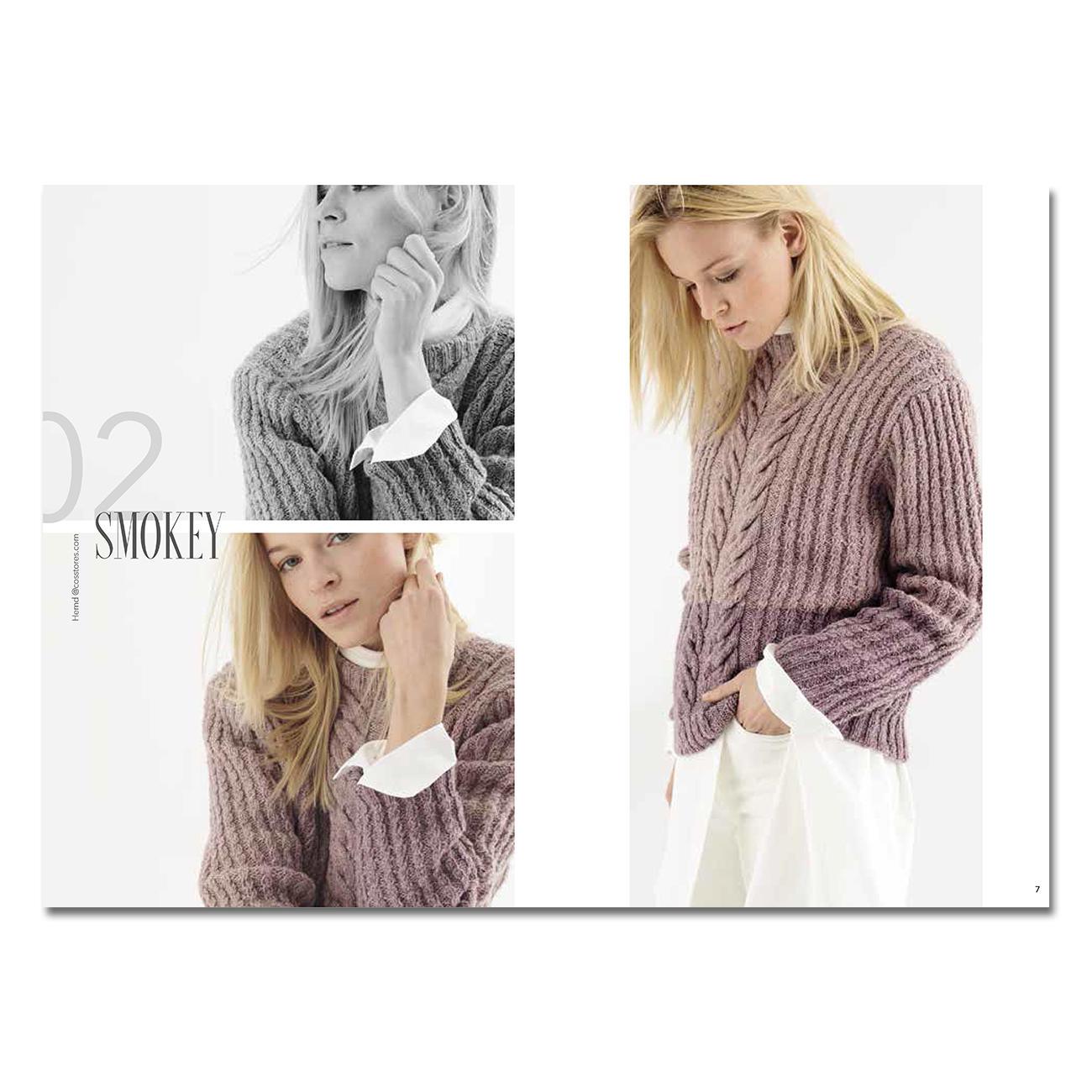 Пуловер с узором из кос из пряжи двух цветов