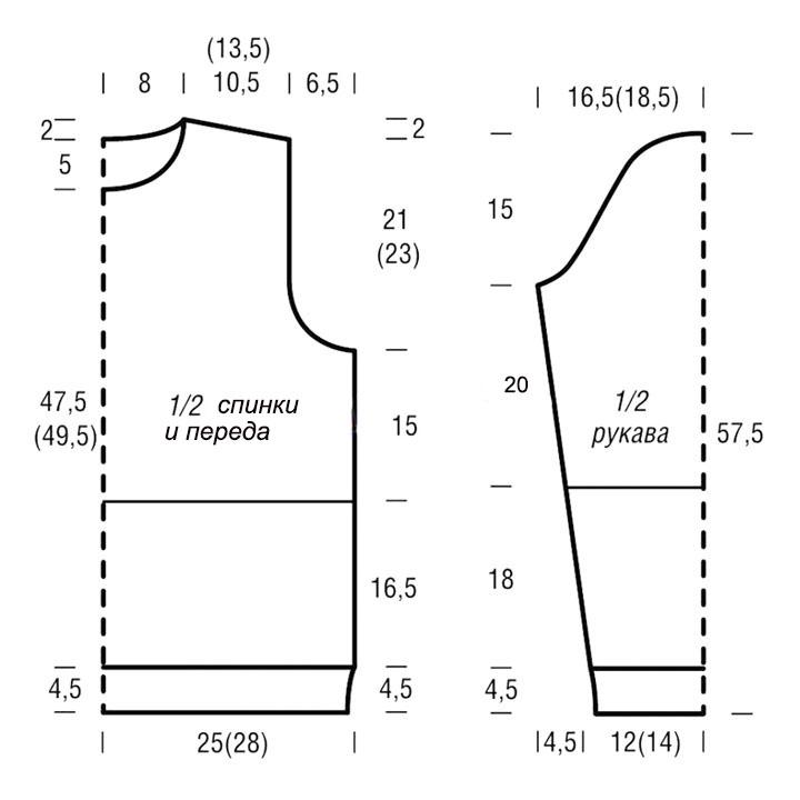 Пуловер с узором из кос из пряжи двух цветов выкройка