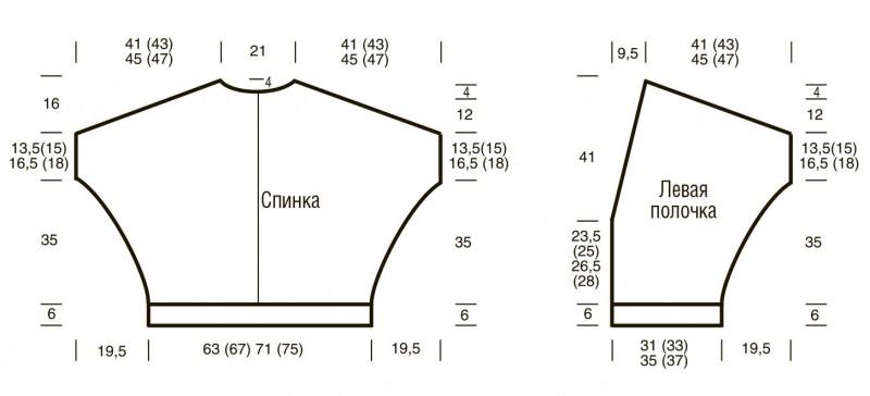 Вязаный жакет Plus Size с цельновязанным рукавом выкройка